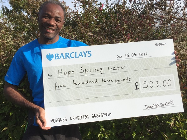 Temi Odurinde raised £503 for Hope Spring Water