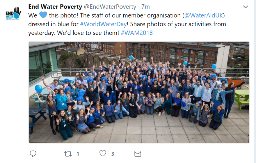 WaterAid staff dress in blue for World Water Day