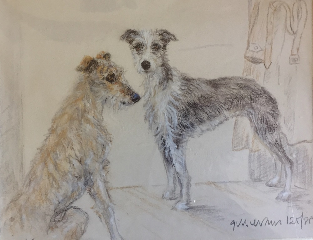 A limited edition print of two Lurchers