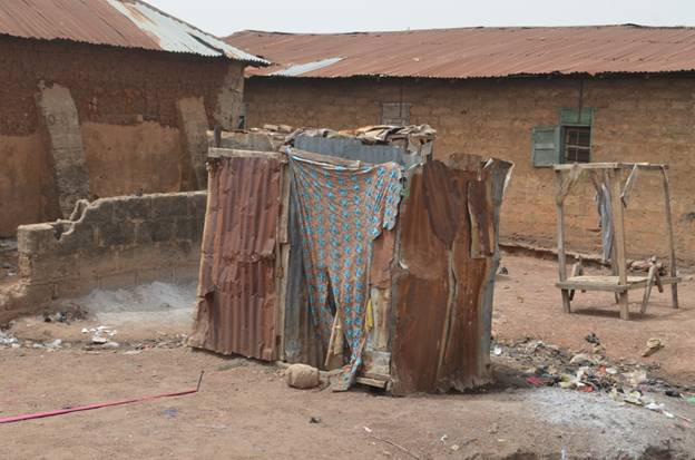 A typical bathroom at Kuburat Nuhu's community.
